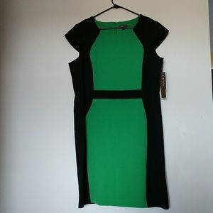 Green and Black Color Block Dress Wiggle CapSleeve